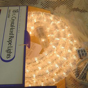 Clear Crystal-Iced Rope Lights 18' long